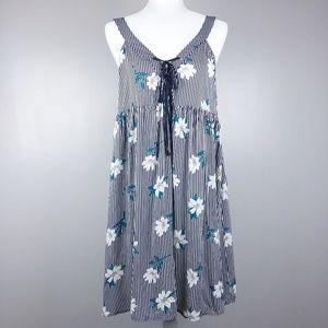 Hem & Thread Striped Floral Sleeveless Dress